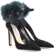 South 100 Fur Trimmed Suede Pumps