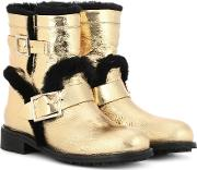Youth Fur Lined Leather Ankle Boots