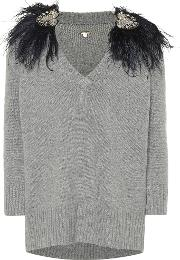 Feather Trimmed Cashmere Sweater