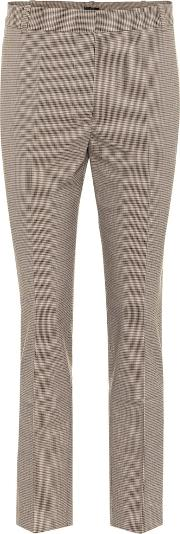 Checked Cotton Blend Pants