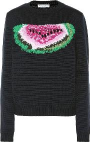 Embroidered Watermelon Wool Sweater