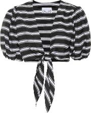 Striped Linen Blend Cropped Blouse