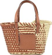 Leather Trimmed Basket Tote