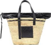 Leather Trimmed Woven Basket Tote