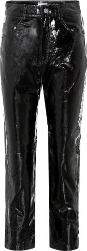 Cropped Patent Leather Trousers