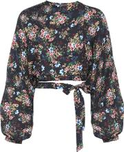 Cropped Printed Silk Blouse