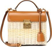 Sara Leather And Rattan Tote