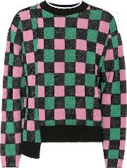 Cotton Blend Checked Sweater