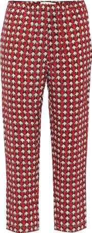 Cropped Mid Rise Straight Silk Pants