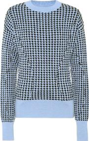 Houndstooth Wool Blend Sweater