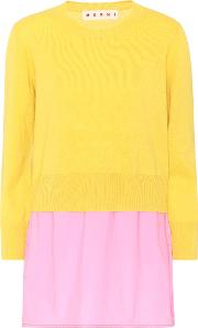 Layered Wool, Cotton And Cashmere Top
