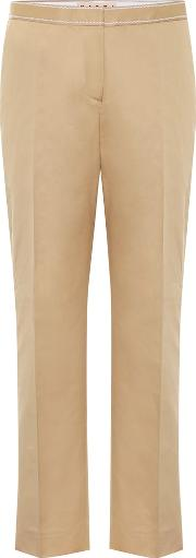 Mid Rise Cotton And Linen Pants