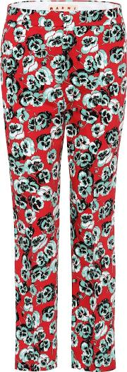 Printed Cotton Blend Trousers