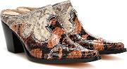 Romeo Snake Effect Leather Mules