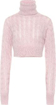 Cropped Mohair Blend Sweater