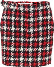 Houndstooth Wool Blend Skirt