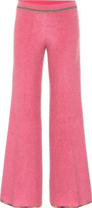 Low Rise Flared Stretch Knit Pants