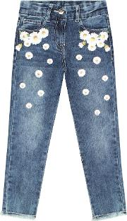 Embroidered Stretch Cotton Jeans