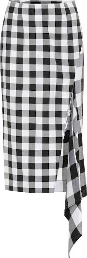 Checked Wool And Cotton Skirt