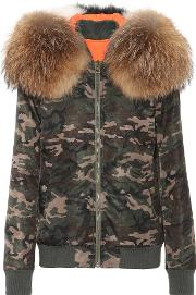 Camouflage Fur Trimmed Coat