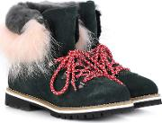 Fur Trimmed Leather Ankle Boots