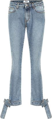 Bow Trimmed Straight Leg Jeans