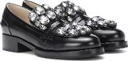 Crystal Embellished Leather Loafers