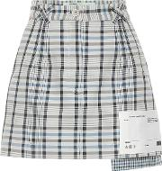 Checked Cotton And Silk Miniskirt