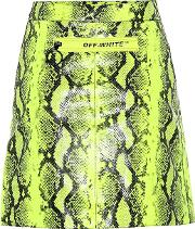 Python Printed Leather Miniskirt