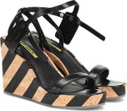 Zip Tie Leather Wedge Sandals