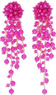 Beaded Clip On Drop Earrings