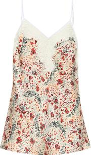 Lace Trimmed Floral Satin Camisole