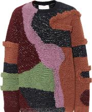 Patchwork Cotton Blend Sweater