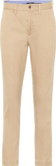 Mid Rise Straight Cotton Blend Pants