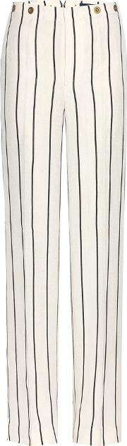 Striped Linen Blend Trousers