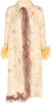 Embellished Silk Coat With Feather Trim
