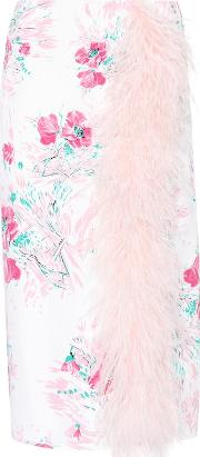 Exclusive To Mytheresa.com Feather Trimmed Silk Skirt
