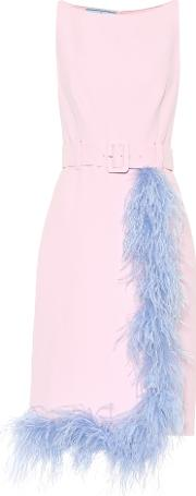 Feather Trimmed Crepe Dress