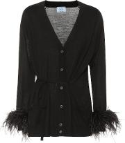 Feather Trimmed Wool Cardigan