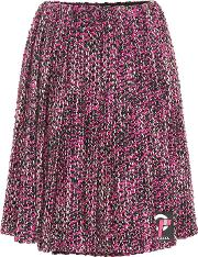 Pleated Wool Blend Skirt