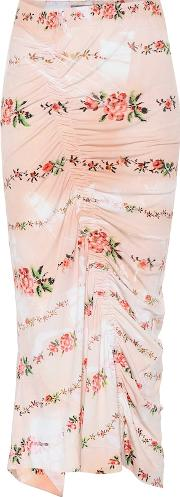 Floral Printed Stretch Crepe Skirt