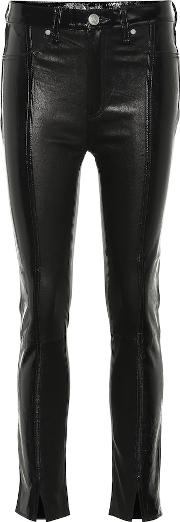 Evelyn High Rise Leather Slim Jeans