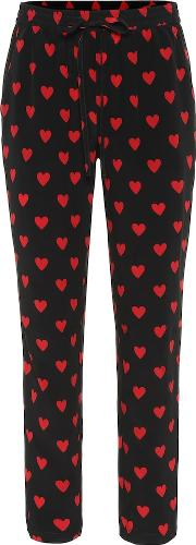 Heart Print Silk Pants