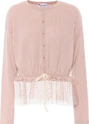 Tulle Trimmed Wool Cardigan