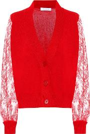 Lace Trimmed Cashmere Cardigan