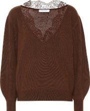 Lace Trimmed Cashmere Sweater