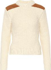 Suede Trimmed Wool Blend Sweater