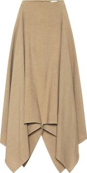 Asymmetrical Linen And Silk Skirt