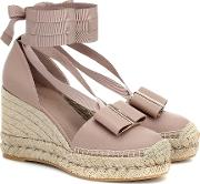 Garanio Leather Wedge Espadrilles