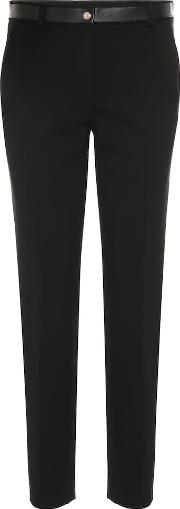 Leather Trimmed Jersey Pants